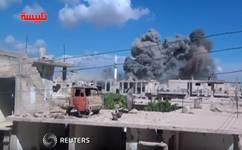 Vidéo amateur montrant le prétendu résultat des frappes russes en Syrie
