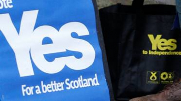 """Une pancarte pour le """"oui"""" à l'indépendance de l'Ecosse"""