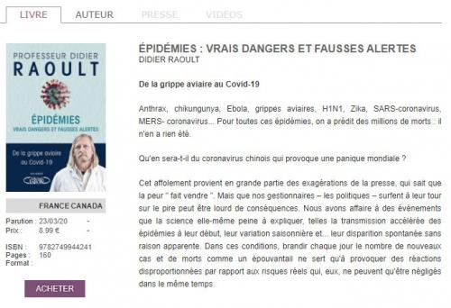Livre Pr Didier RAOULT aux éditions LAFONT.JPG