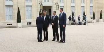François Hollande a reçu à l'Élysée Bernard Henri-Lévy en compagnie des Ukrainiens Petro Porochenko et Vitali Klitschko.