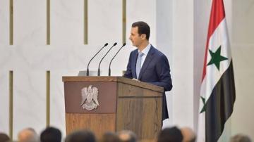 Le président syrien lors d'un discours à Damas