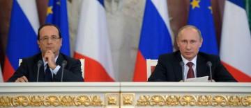 François Hollande et Vladimir Poutine lors de leur conférence de presse commune, en février 2013, à Moscou.