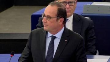 François Hollande à la tribune du Parlement Européen de Strasbourg.